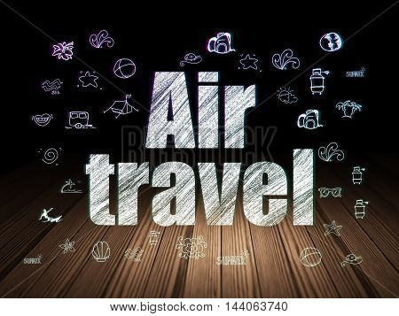 Travel concept: Glowing text Air Travel,  Hand Drawn Vacation Icons in grunge dark room with Wooden Floor, black background