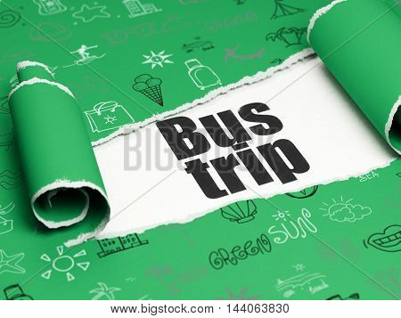 Tourism concept: black text Bus Trip under the curled piece of Green torn paper with  Hand Drawn Vacation Icons, 3D rendering