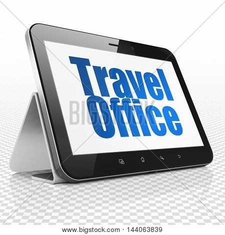 Travel concept: Tablet Computer with blue text Travel Office on display, 3D rendering