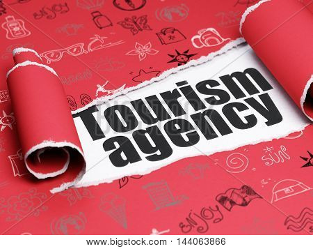 Tourism concept: black text Tourism Agency under the curled piece of Red torn paper with  Hand Drawn Vacation Icons, 3D rendering