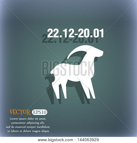 Capricorn Icon. On The Blue-green Abstract Background With Shadow And Space For Your Text. Vector