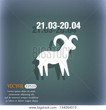 Decorative Zodiac Aries Icon. On The Blue-green Abstract Background With Shadow And Space For Your T