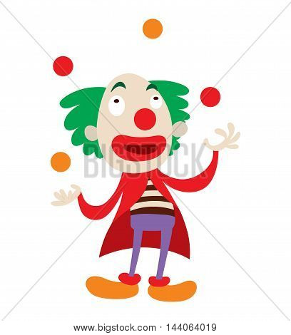 Clown character performing different fun activities vector cartoon illustrations. Clown character funny happy costume cartoon joker. Fun makeup and carnival smile hat nose clown character circus