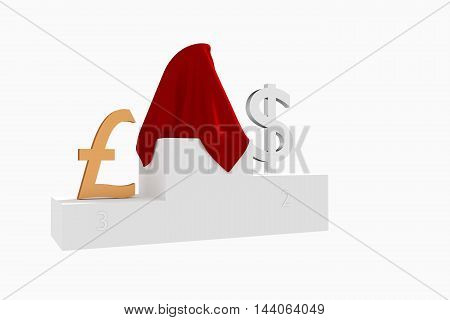 Hidden currency winner colored Dollar and Pound under red cloth 3D rendered illustration