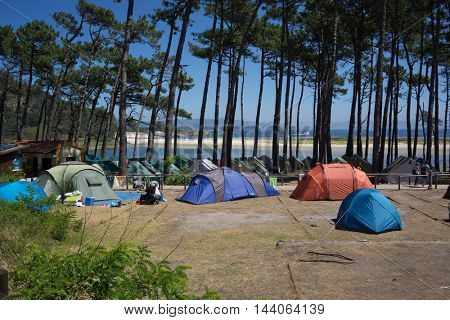 VIGO, SPAIN - AUGUST 18, 2016: Camping on the Cies Islands Natural Park off the coast of Vigo. The Cies campsite is 150 feet from the beach and has 800 campsite spots.