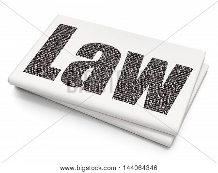 Law concept: Pixelated black text Law on Blank Newspaper background, 3D rendering