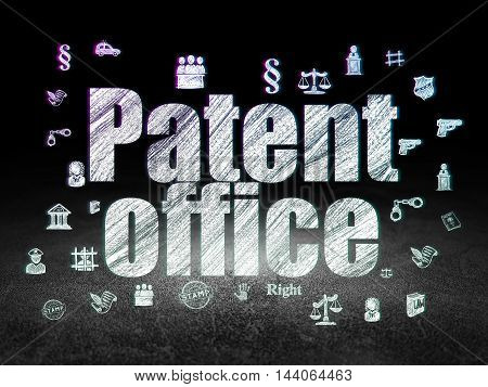 Law concept: Glowing text Patent Office,  Hand Drawn Law Icons in grunge dark room with Dirty Floor, black background