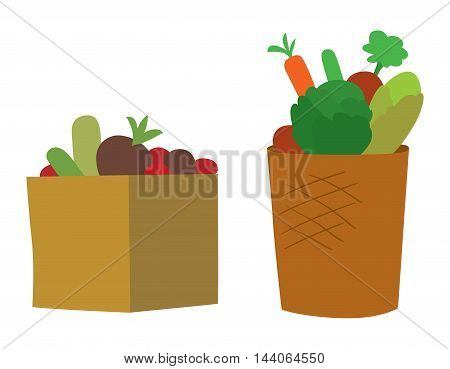 Wooden crate fresh vegetables and fruit isolated on white background. Natural crate vegetarian diet tomato vegetable box. agriculture vegetable box group freshness organic ingredient.