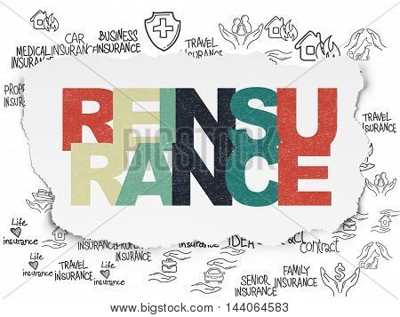 Insurance concept: Painted multicolor text Reinsurance on Torn Paper background with  Hand Drawn Insurance Icons