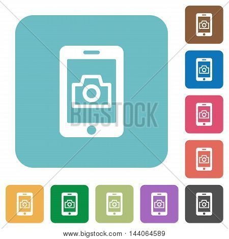 Flat mobile photography icons on rounded square color backgrounds.