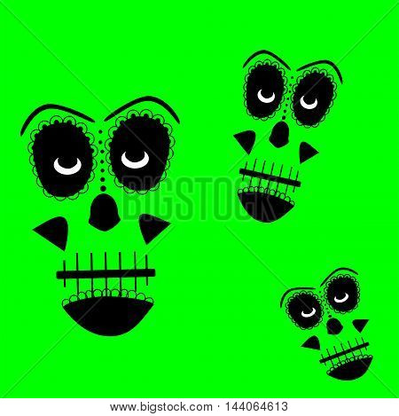 Skull vector background for fashion design, patterns, tattoos green