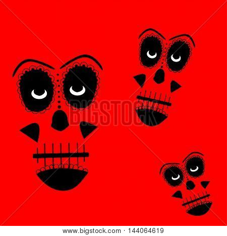 Skull vector background for fashion design, patterns, tattoos red color
