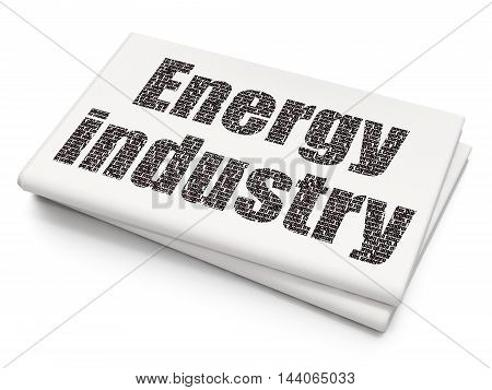 Industry concept: Pixelated black text Energy Industry on Blank Newspaper background, 3D rendering