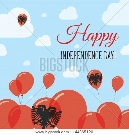Albania Independence Day Flat Patriotic Design. Albanian Flag Balloons. Happy National Day Vector Ca