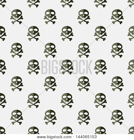 Skull Cross Bones Seamless Pattern. Skull Isolated on White