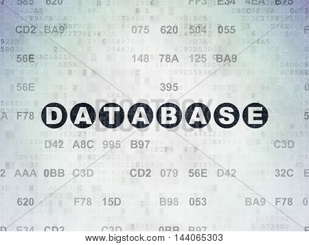 Programming concept: Painted black text Database on Digital Data Paper background with Hexadecimal Code