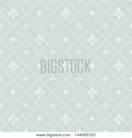 Seamless orient vector pattern. Traditional classic light blue and white ornament