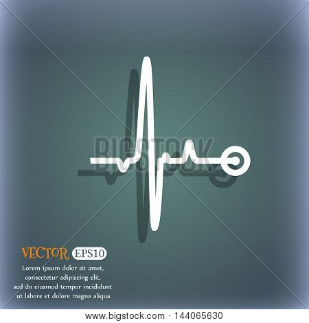 Heartbeat Icon. On The Blue-green Abstract Background With Shadow And Space For Your Text. Vector