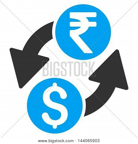 Dollar Rupee Exchange icon. Vector style is bicolor flat iconic symbol with rounded angles, blue and gray colors, white background.
