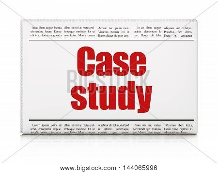 Education concept: newspaper headline Case Study on White background, 3D rendering