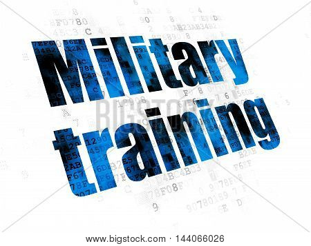Studying concept: Pixelated blue text Military Training on Digital background