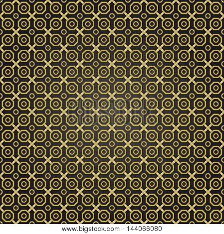 Geometric fine abstract vector octagonal background. Seamless modern black and golden pattern