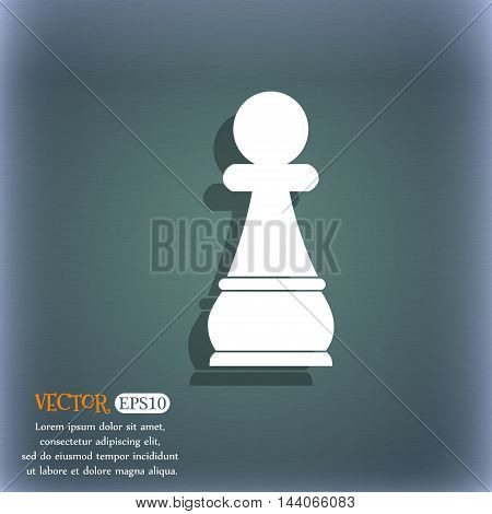 Chess Pawn Icon. On The Blue-green Abstract Background With Shadow And Space For Your Text. Vector
