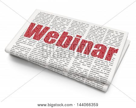 Studying concept: Pixelated red text Webinar on Newspaper background, 3D rendering