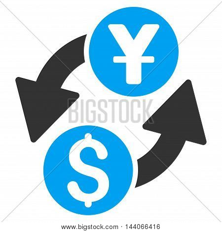 Dollar Yuan Exchange icon. Vector style is bicolor flat iconic symbol with rounded angles, blue and gray colors, white background.