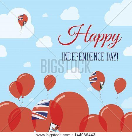 Bermuda Independence Day Flat Patriotic Design. Bermudian Flag Balloons. Happy National Day Vector C