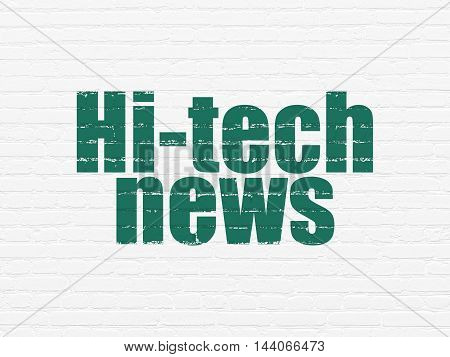 News concept: Painted green text Hi-tech News on White Brick wall background