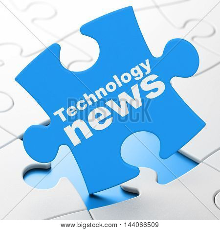 News concept: Technology News on Blue puzzle pieces background, 3D rendering