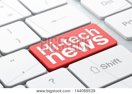 News concept: computer keyboard with word Hi-tech News, selected focus on enter button background, 3D rendering