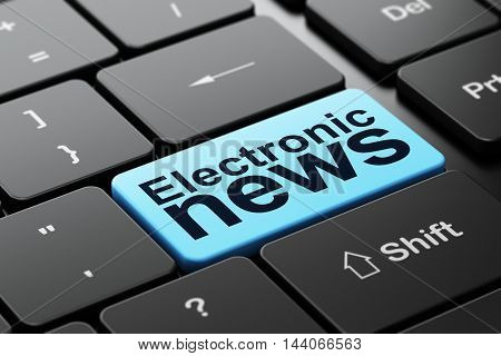 News concept: computer keyboard with word Electronic News, selected focus on enter button background, 3D rendering