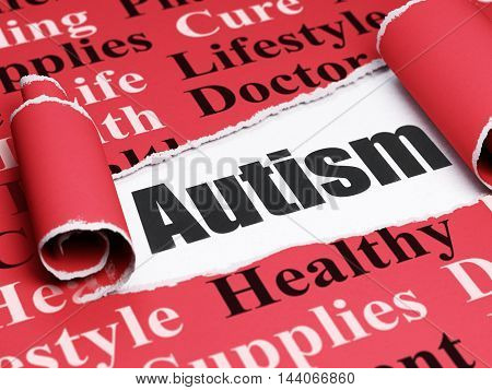 Health concept: black text Autism under the curled piece of Red torn paper with  Tag Cloud, 3D rendering