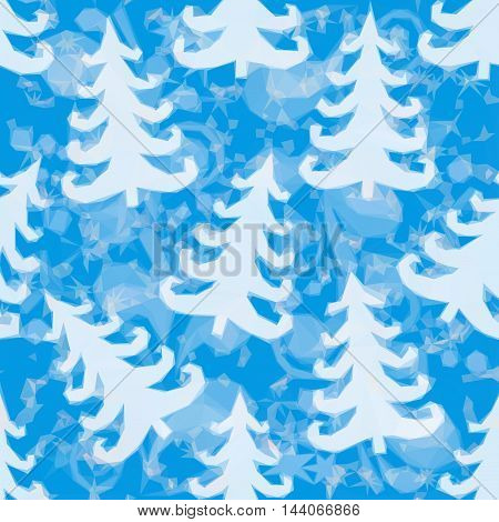 Christmas Low Poly Background for Holiday Design, Blue Pattern with Fir Trees Silhouettes. Vector