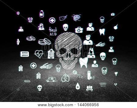 Medicine concept: Glowing Scull icon in grunge dark room with Dirty Floor, black background with  Hand Drawn Medicine Icons