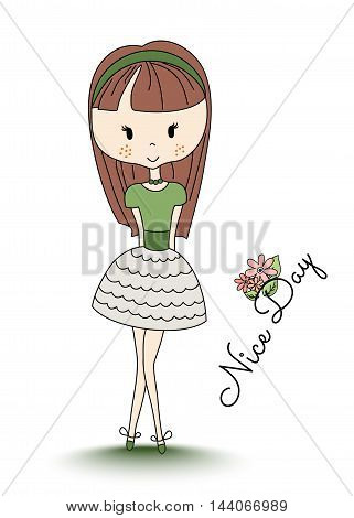 School girl. Little child with long brown hair. Nice day text and flowers