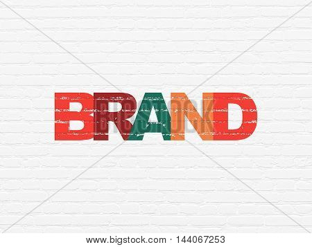 Advertising concept: Painted multicolor text Brand on White Brick wall background