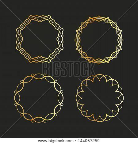 Golden outline emblems and badges frames set. Vector illustration