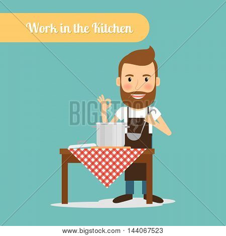 Man work in the kitchen cooking. Vector illustration