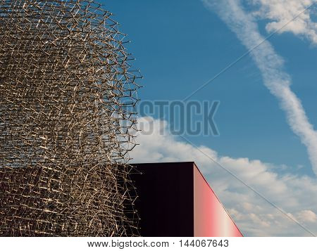 MILANO, ITALY - MAY 2015: Detail of Megastructure made of Aluminium Beehive: British Pavilion at Exposition in Milan - Italy