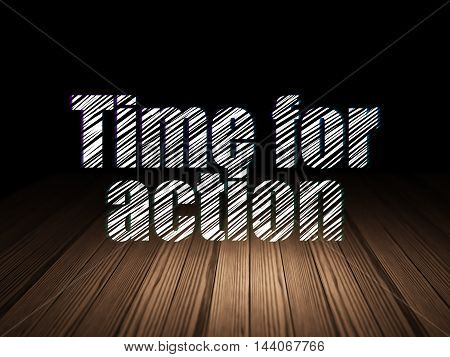 Time concept: Glowing text Time for Action in grunge dark room with Wooden Floor, black background