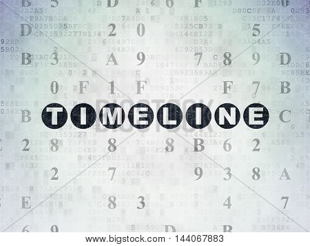 Time concept: Painted black text Timeline on Digital Data Paper background with Hexadecimal Code