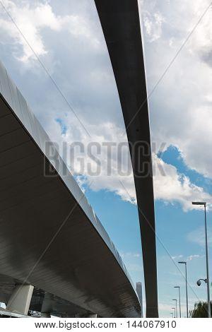 MILANO, ITALY - MAY 2015: Modern City Bridge near Business Center