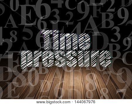Timeline concept: Glowing text Time Pressure in grunge dark room with Wooden Floor, black background with  Hexadecimal Code