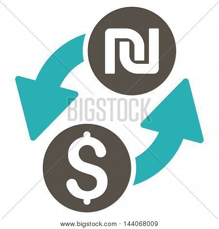 Dollar Shekel Exchange icon. Glyph style is bicolor flat iconic symbol with rounded angles, grey and cyan colors, white background.