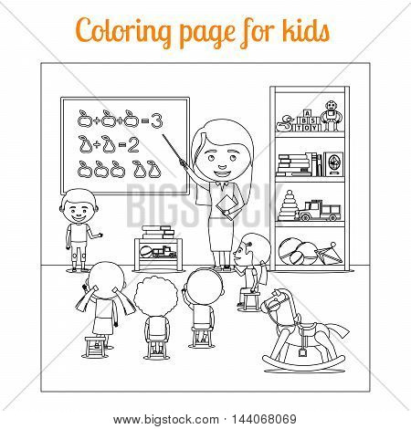 Coloring book page for kids during lesson. Vector illustration
