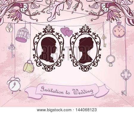 Vector Wedding Invitation Card. Vintage card with Silhouette Married