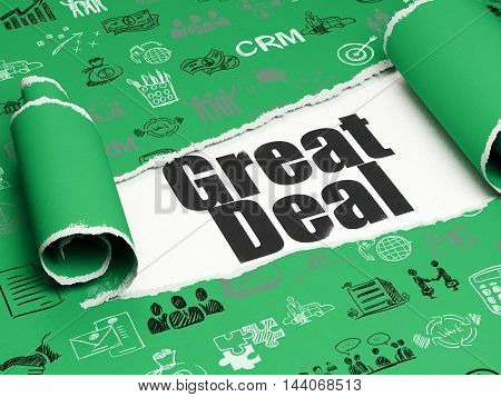 Business concept: black text Great Deal under the curled piece of Green torn paper with  Hand Drawn Business Icons, 3D rendering